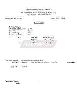 Pomiar zadymienia BMW 1 E87 2.0D 136 KM