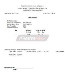 Pomiar zadymienia Mitsubishi Outlander 2.2 DID 150 KM